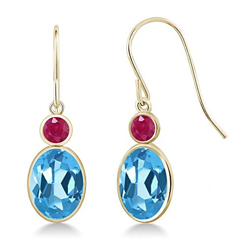 Gem Stone King 3.28 Ct Oval Swiss Blue Topaz Red Ruby 14K Yellow Gold Earrings