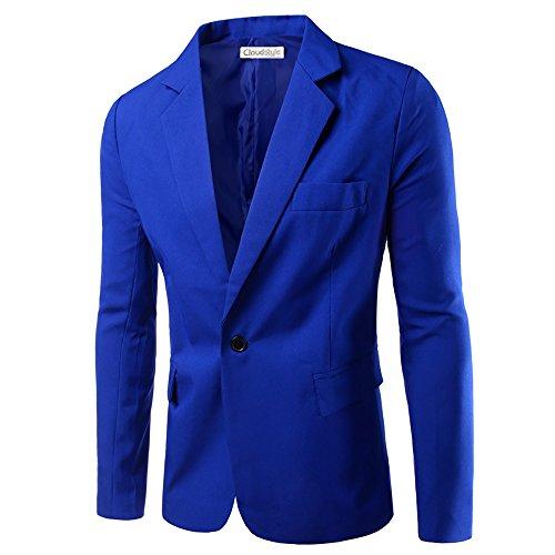 Homme Unique Bleu Mince Costume Couleur Décontraction De Veste Bouton Fonce Un D'affaires 4pq0ExR