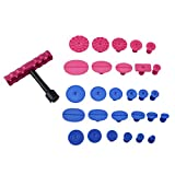 Qiilu 29Pcs PDR Dent Puller Slide Hammer Dent Repair Tools Paintless Removal Kit +Bridge Grip T-Bar Glue Lifter Tabs for Vehicle SUV Car Auto Refrigerator Body Hail Damage Remover
