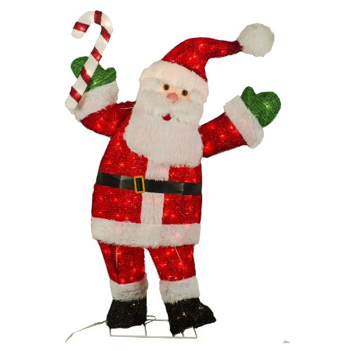 amazon com holiday living 48 in tinsel christmas santa home kitchen - Lowes Outdoor Christmas Decorations