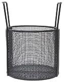 "10""Dia x 8""H Round Black Plastic Coated Plain Steel Mesh Basket"
