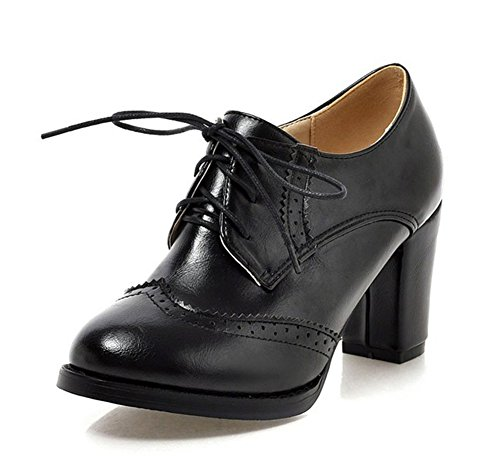 Boots Women's Heel Dress Ankle Up Vintage Toe Oxford Stacked Shoes Work Pointed High To Booties Lace Wear Office Aisun Black pBUWSgRR