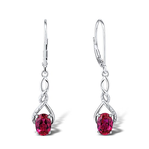 Lab Created Ruby Earring in Rhodium Plated Sterling Silver -