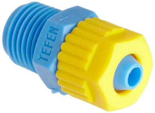 Tefen Fiberglass Polypropylene Compression Tube Fitting, Adapter, Yellow/Blue, 1/4