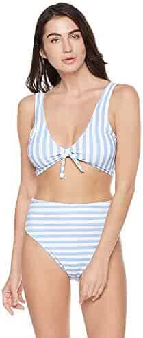 af5198bab5f Bloom Muse Women's High Waisted Swimsuit Two Piece Bathing Suit Knot Tie  Bikini Set Striped Swimwear