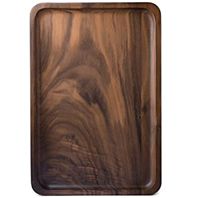 Bamber Wood Serving Tray, Decorative Trays, Serving Platters for Tea Coffee Wine, Premium Quality, Totally Handcrafted, Black Walnut