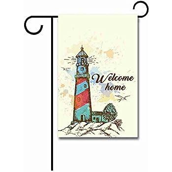 12.5X18 SPRING SUMMER LIGHTHOUSE LANE OCEAN FLOWERS GARDEN FLAG