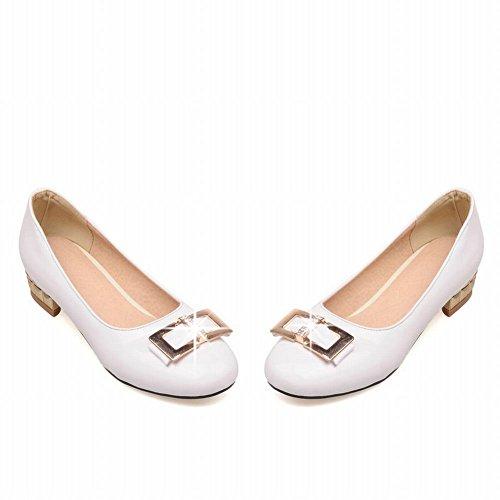 Spectacle Briller Mode Féminine Faible Chunky Talon Mocassins Chaussures Blanc