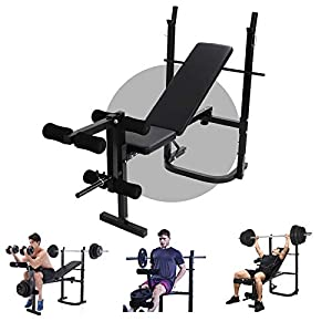 Olympic Weight Bench for Full-Body Workout, Foldable Multifunctional Bed Weight lifting Machine Fitness Equipment Home Gym