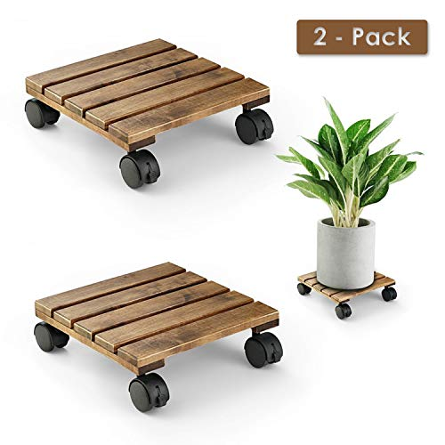 LITADA Wood Plant Caddy Heavy Duty, 12 inch Square Plant Roller with Lockable Caster Wheels, Outdoor Caddy Indoor Plant Dolly (2 Pcs)