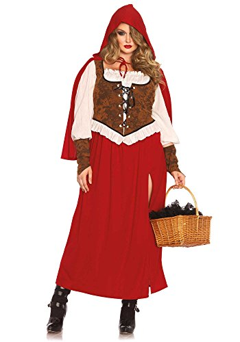 [Leg Avenue Women's Plus-Size Woodland Red Riding Hood Costume, Red, 3X] (Lady Reaper Adult Plus Size Costumes)