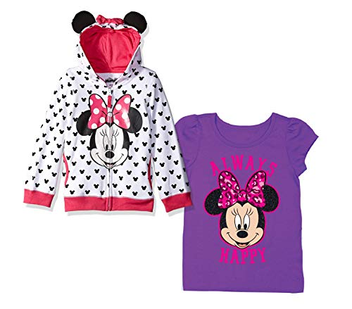 Disney Minnie Mouse Hoodie Shirt - 2 Pack of Minnie Mouse Hoodie and Tee (White/Purple, 2T) -