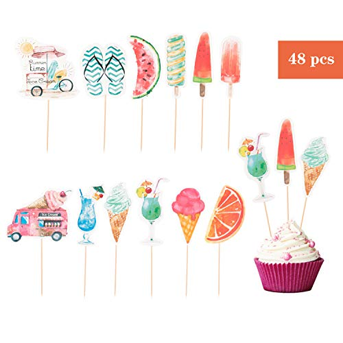 Lauren 48 Pcs Ice Cream and Watermelon Summer CupCake Decorative Toppers Cake Decorating Tools for Birthday Theme Party