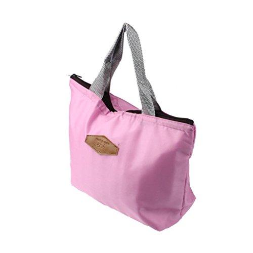 Feixiang & # x2648; exclusivo personalización impermeable portátil picnic aislado alimentos Tote bolsa para el almuerzo large naranja Rosa