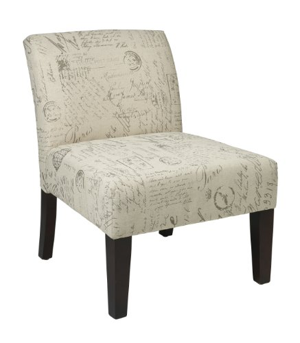 AVE SIX Laguna Accent Chair with Espresso Finish Solid Wood Legs, Cream Script Fabric
