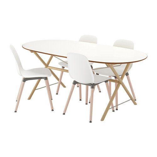 Ikea Table and 4 chairs, birch, white 4204.11217.26