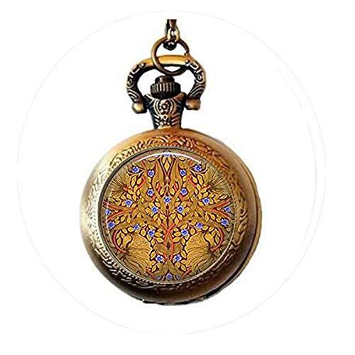 Art Nouveau Watch - hars illiam Morris Poppies and Violets Pendant Necklace - Art Nouveau Jewelry, Chemicals Pocket Watch Necklace