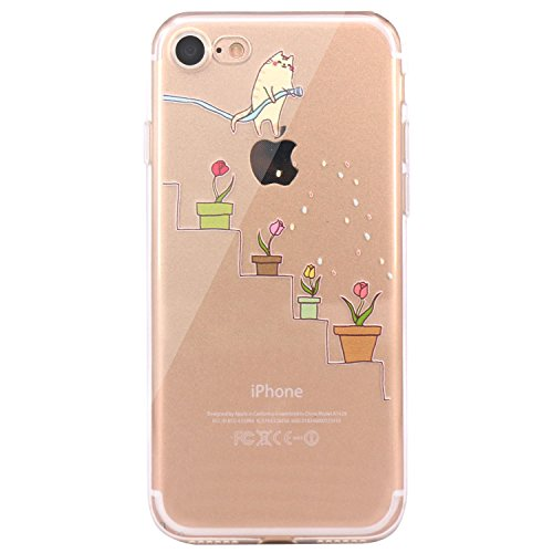 JAHOLAN iPhone 6 Case, iPhone 6S Case Amusing Whimsical Design Clear Bumper TPU Soft Case Rubber Silicone Skin Cover for iPhone 6 6S - Cat Watering Flowers