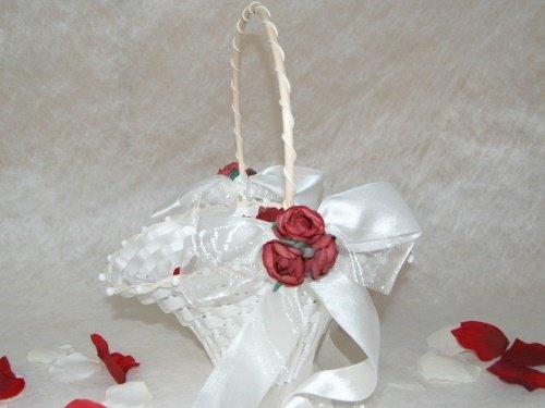 Blumenkinderkörbchen weiss, -Exclusiv, bordeaux-, Blumenkinderkorb Streukörbchen zur Hochzeit