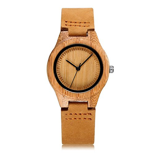 CUCOL Womens Wooden Bamboo Watches Leather Strap with Gift
