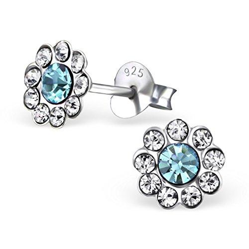 Boucles d'oreilles argent fille bleu argent sterling 925Cristal transparent–Boucles d'Oreilles Femme–avec boîte cadeau -