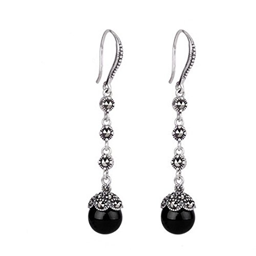 Jade Angel Antique Thai Silver Jewelry Sterling Silver Black Cubic Zirconia Marcasite Drop Dangle Hoop Earring (Black)
