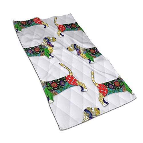 SWATLOGR Day of The Dead Bassett Hound Face Towel,Hand Towel,Kitchen Towels-Dish 3D Design Pattern Towel,Towels for The Kitchen,Cleaning,Cooking,Baking,Dishwashing Towel - Bassett Design