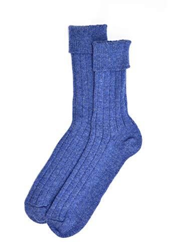 Mens Cashmere Sock in Lapis Blue Made In Scotland Size Two