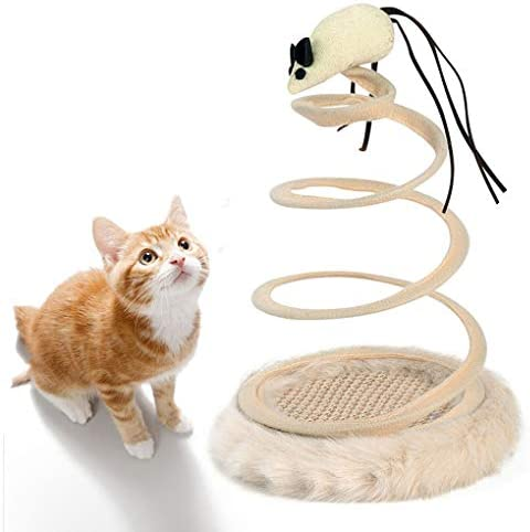 Andiker Interactive Cat Toy, Cat Plush Toy with Spiral Spring Plate and Funny Ball or Mouse Interactive Stainless Steel Spring Rotating Cat Creative Toy to Kill time and Keep Fit 2