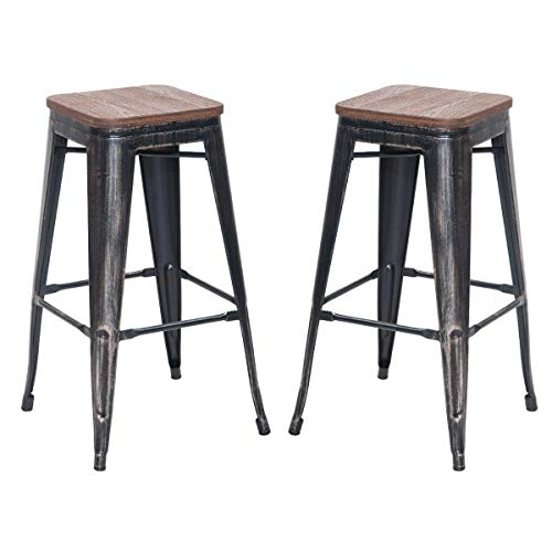 Bar Stools Set of 2 30 Inches Fusion Metal Backless with Wood Seat, Distressed Metal Finish for Industrial Appeal Antique Gun Metal