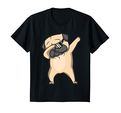 Kids Dabbing Pug Shirt - Cute Funny Dog Dab T-Shirt 10 Black