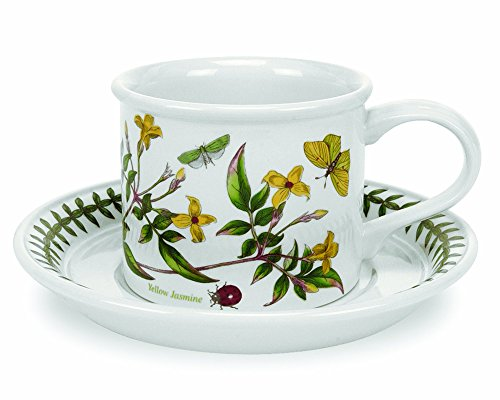 Cups Saucers Oven Safe - Portmeirion Botanic Garden Drum Shaped Tea Cup and Saucer, Set of 6 Assorted Motifs