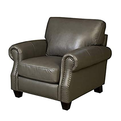 Phenomenal Amazon Com Abbyson Living Lenny Leather Armchair In Gray Ibusinesslaw Wood Chair Design Ideas Ibusinesslaworg
