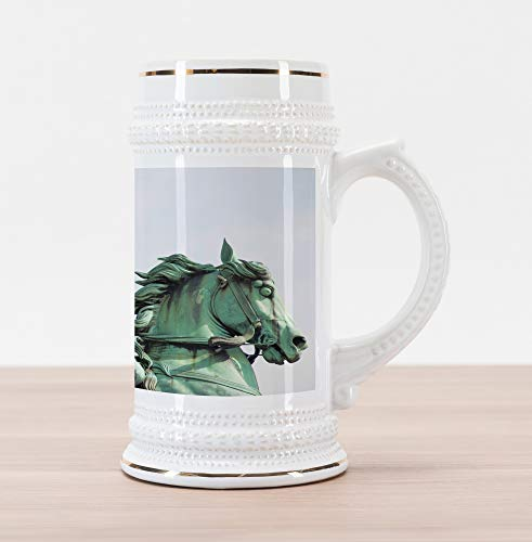 Lunarable Retro Beer Stein Mug, Samurai Worrior Riding Horse City Park in Tokyo History Travel, Traditional Style Decorative Printed Ceramic Large Beer Mug Stein, Mint Green Black]()
