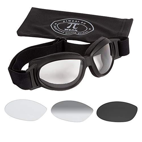 PiWear® Black Hills kleine Motorradbrille selbsttönend über Helm winddicht rutschfest gepolstert beschlagfrei klar