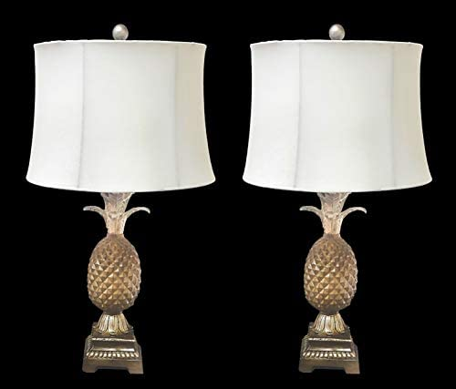2 Pineapple Table Lamps with White Shade Living Room Dining Bedroom