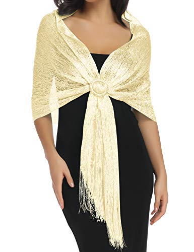 Shawls and Wraps for Evening Dresses, Champagne Gold