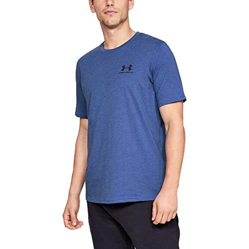 - Under Armour mens Sportstyle Left Chest Short Sleeve T-Shirt, Royal Medium Heather (401)/Black, X-Large