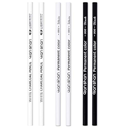 6 Pcs Graphite Drawing Pencils and Sketch Set - Includes 2 Black Pencils, 2 White Pencils,2 White Charcoal Pencils for Artist and Beginner Drawing, Sketching, Blending