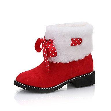 Ronda UK5 5 Zapatos Rojo Botas Botas Bowknot 5 Toe Invierno EU38 Botines Pu Casual Mujer De La De Negro Y Otoño Moda Nieve Botines Botas RTRY CN38 US7 gw74qdx4