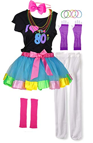 I Love 80s Pop Party Rock Star Child Girl's Costume Accessories Fancy Outfits (8-10, Blue)]()