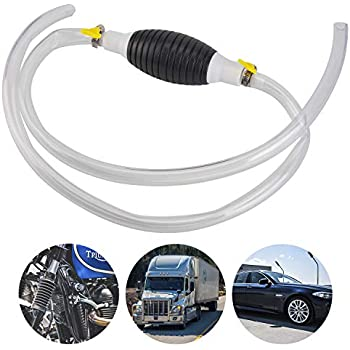 Transfer Oil//Water//Fuel Gas Siphon Pump Gasoline Siphone Hose with 2 Clip Portable Widely Use Hand Fuel Pump Hand Syphon Pump with Eco-Friendly Clear Hose