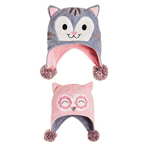 B. Boutique Owl and Kitten Reversible Fleece Hat - Owl Fleece Hat