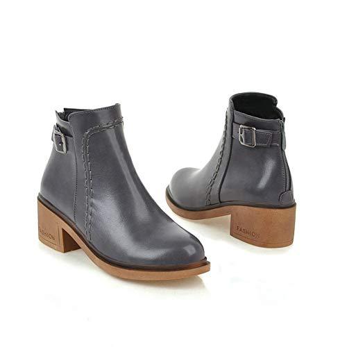 34 Calzado Chelsea Gray xuezi Ronda Ai 43 Zipper Mujer Zapatos Botas Botines Toe Cuero Ya Hebilla Tacones De Invierno Cuadrados Pu UTxTqv5Rw