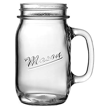 Anchor Hocking Mason Embossed Glass 16 Ounce Canning Jar Mug, Set of 6