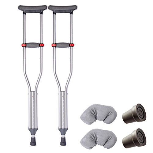 (LIULIFE Crutch Elderly Disabled Armpit Single Double Crutches Aluminum Alloy Non-slip Walker,BasicStyle-2PCS)