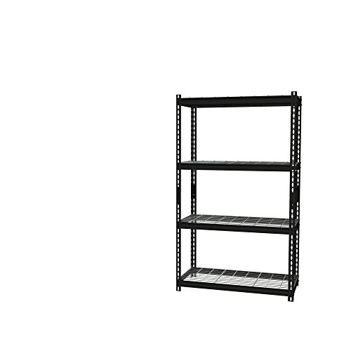 Office Dimensions Riveted Steel Shelving with Wire Shelves, 4 Shelf, 18''D x 36''W x 60''H, Black by Iron Horse