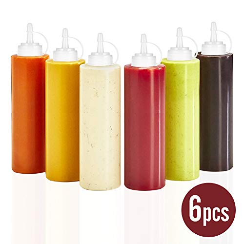 (6pk 8 Oz Squirt Bottle for Condiment Oil and Vinegar Dispenser Hot Sauce Honey Mustard Ketchup Paint Glue Liquid with No Leak Tip Twist On Cap Lids and Clear Plastic)