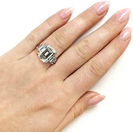 Kobelli 5 1/2 Carat TGW Three Stone Emerald Cut Moissanite Statement Engagement Ring in 14k White Gold