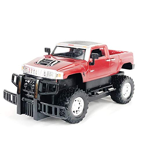 allgala GM Hummer License Friction Plastic Toy Model Car 1:24 ,H3 Sports Utility Truck, Red Color